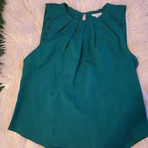 NY & Company Green Short Sleeve Blouse